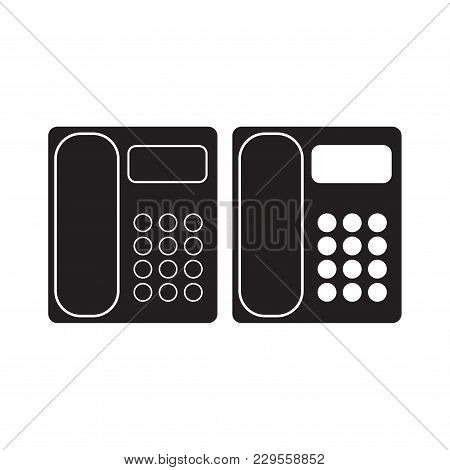 Office Phone Icon Vector Illustration. Telephone Flat Sign. Isolated On White Background.