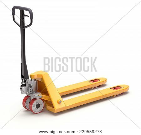 Yellow Pallet Jack On White Background - 3d Illustration