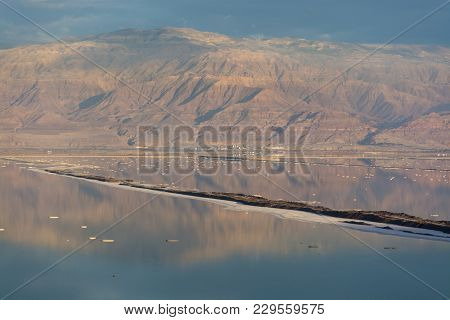 Sunset Over Lowest Salty Lake In World Below Sea Level Dead Sea, Full Of Minerals Near Luxury Vacati