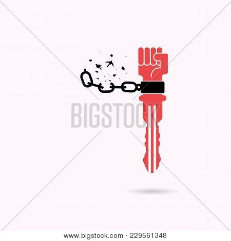 Creative Key Sign And Human Hands And Broken Chain With The Bird Symbols.success And Freedom Concept