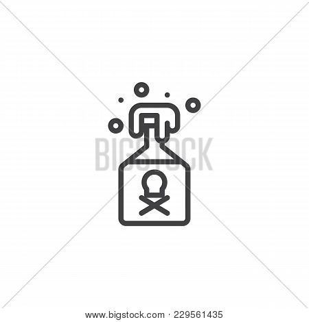 Poison Bottle Outline Icon. Linear Style Sign For Mobile Concept And Web Design. Jar With Poison Sim