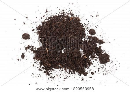 Pile Heap Of Soil Isolated On White Background.