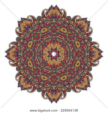 Vector Colorful Mandala Pattern Of Henna Floral Elements Based On Traditional Asian Ornaments. Paisl