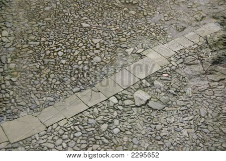 View Of Stone Cobbles And A Flagstone Path