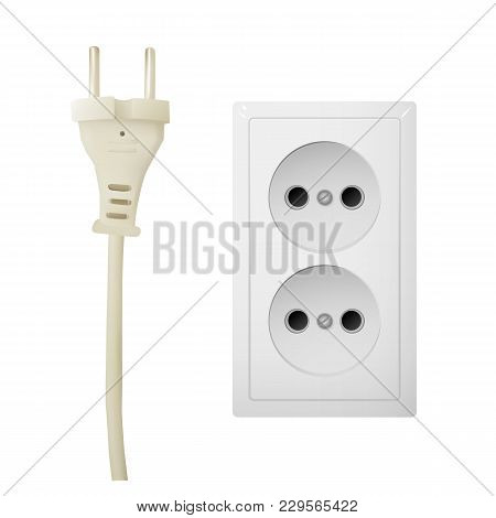Electrical Adapter With Two Outlet. Ac Power Plugs And Sockets. Vector Illustration.