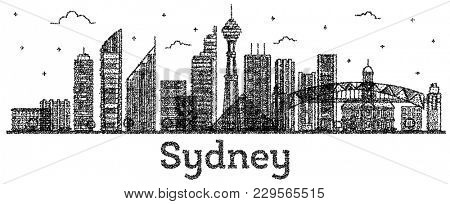 Engraved Sydney Australia City Skyline with Modern Buildings Isolated on White. Sydney Cityscape with Landmarks.