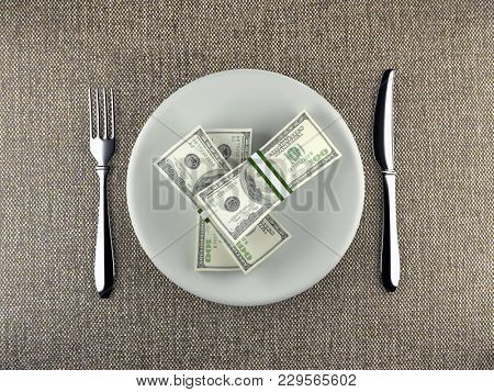 3D rendering of wads of American 100 dollar bills served on plate with fork and knife placed on table - business concept