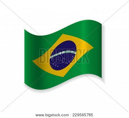 The Official Flag Of The Federative Republic Of Brazil. Vector Illustration Of A State Symbol.