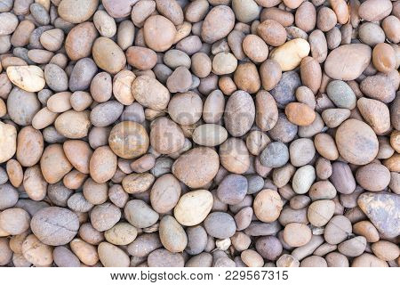 Stone Pebbles Texture Or Stone Pebbles Background. Stone Pebbles For Interior Exterior Decoration De