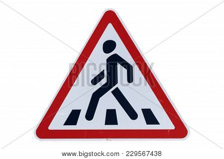 Road Sign 'pedestrian Crossing' Isolated On White