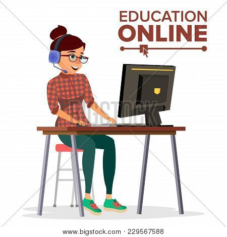 Education Online Vector. Young Handsome Woman In Headphones Sitting. Home Online Training Course. Mo