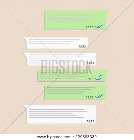Social Network Messenger Concept Frame Vector Illustration. Mobile Ui Kit Messenger. Chat App Templa