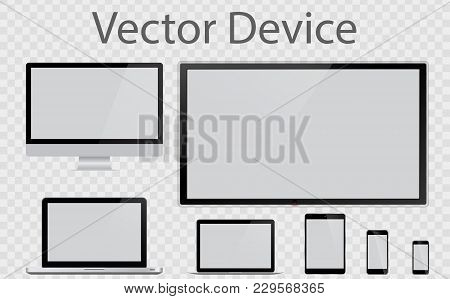 Realistic Computer, Laptop, Tablet, Smartphone. Set Device Mockup. Device Mockup Template. Set Reali