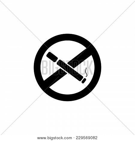 No Smoking Sign Vector Black On White Background