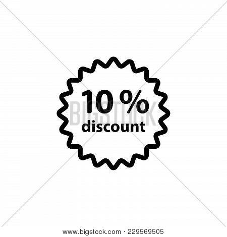 Discount Ten (10) Percent Circular Icon Black On White Background