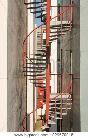 Red Metal Staircase Spiral Building Architecture Background