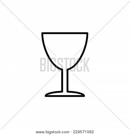 Line Icon Of Fragile Symbol (sign) Black On White Background
