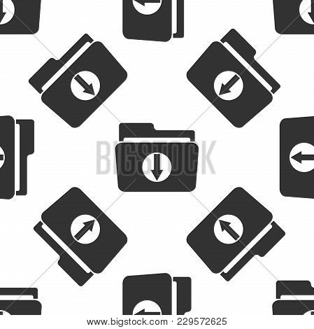 Download Arrow With Folder Icon Seamless Pattern On White Background. Flat Design. Vector Illustrati
