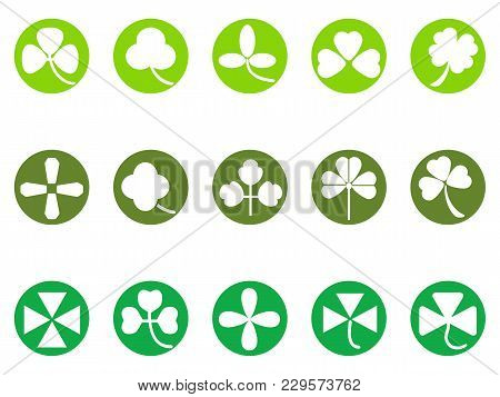 Isolated Green Clover Round Button Icons Set From White Background