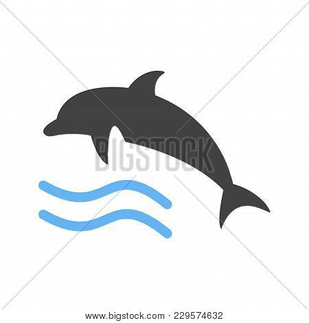 Dolphin, Fish, Water Icon Vector Image. Can Also Be Used For Summer, Recreation And Fun. Suitable Fo