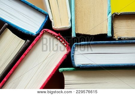 Closeup of antique books educational, academic and literary concept