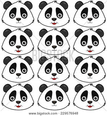 Panda Icon, Hello Panda, Bear On The Blackground. Pattern
