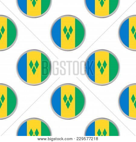 Seamless Pattern From The Circles With Flag Of Saint Vincent And The Grenadines. Vector Illustration