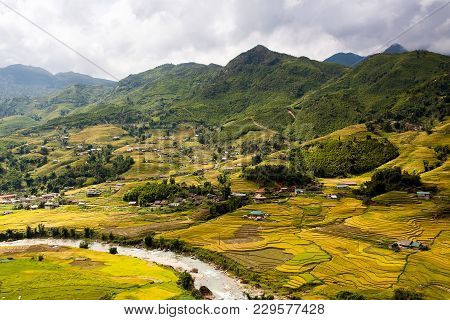 Sa Pa, A City In The Mountains On Sunset