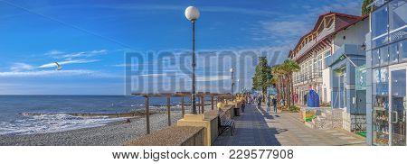 Sochi, Russia - November 3, 2016: Adler. Embankment Of Chaika Beach.