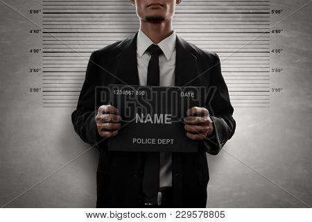 Mugshot Of Criminal Business Man Wanted Portrait