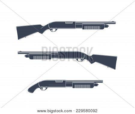 Shotguns Isolated On White, Eps 10 File, Easy To Edit