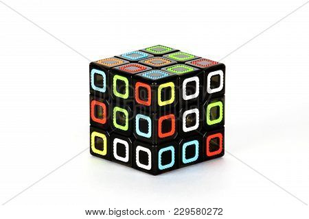 The Rubik`s Cube On The White Background. The Solution Sequence Stage One. The Object Is Isolated On