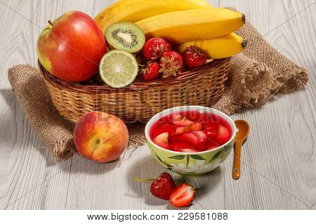 Cherry Jelly With Strawberry Pieces In The Bowl, Fresh Strawberries, Nectarine, Lime, Kiwi, Banana,