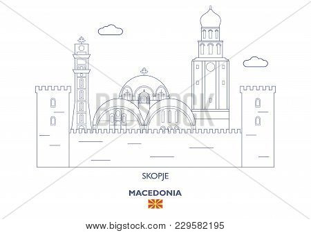 Skopje Linear City Skyline, Macedonia. Famous Places