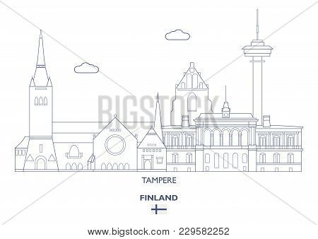 Tampere Linear City Skyline, Finland. Famous Places