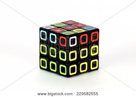 The Rubik`s Cube On The White Background. The Solution Sequence Stage Five. The Object Is Isolated O