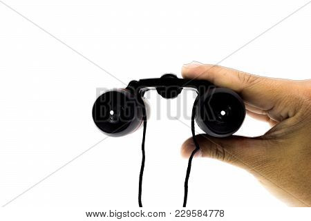 Black Binoculars With Hanging Robe In Man Hand