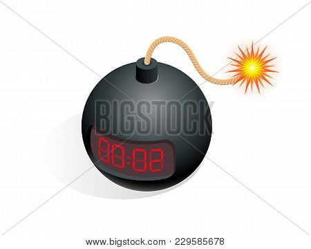 Isometric Bomb Icon. Vector Illustration Tnt Time Bomb Explosive With Digital Countdown Timer Clock