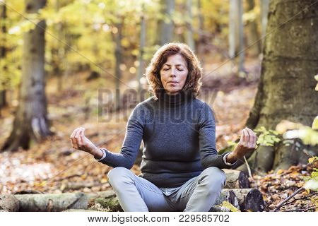 Senior Woman Meditating In An Autumn Forest. An Old Woman Sitting On The Ground, Practicing Yoga, Ey