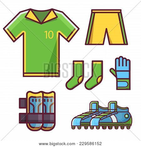 Soccer Football Team Uniform Icon Set With Goalkeeper Glove, Knee Pads, Soccer Cleats Or Football Bo