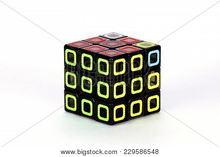 The Rubik`s Cube On The White Background. The Solution Sequence Stage Nine. The Object Is Isolated O