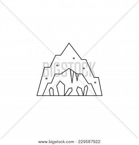 Cave With Stalagmites And Stalactites, Vector Thin Line Icon. Isolated Symbol. Logo Template, Elemen