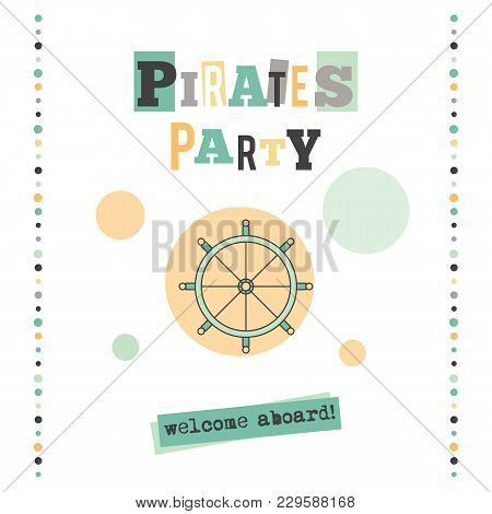 Pirates Party Vector Vertical Banner Template. The Tour Announcement. For Travel Agency Products, To