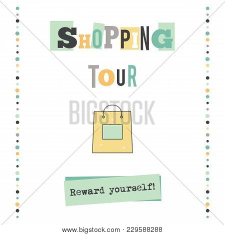 Shopping Tour Vector Vertical Banner Template. Excursion Announcement. For Travel Agency Products, T