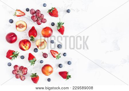 Fruit Background. Fresh Fruits Strawberry, Blueberry, Peach, Banana, Grape On White Background. Flat