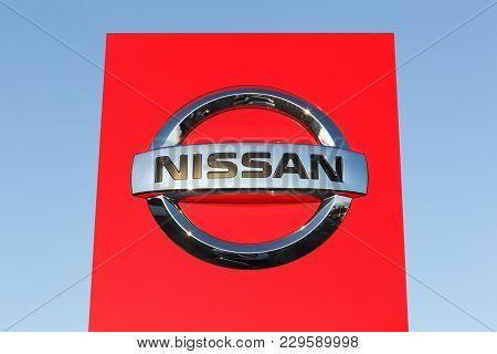 Risskov, Denmark - October 28, 2017: Nissan Logo On A Panel. Nissan Motor Company Ltd, Usually Short