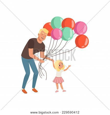 Smiling Father And His Little Daughter With Bunch Of Balloons, Loving Daddy And Kid Spending Time To