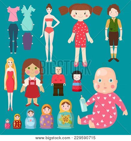 Vector Dolls Toy Character Girls And Boys Human Face And Body Game Dress Rag-doll Illustration. Pret