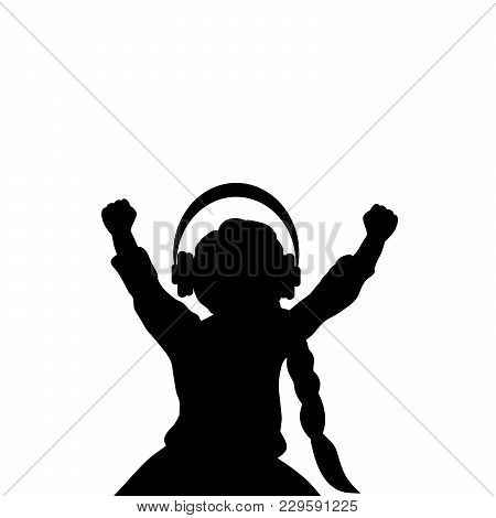 Silhouette Girl Listening To Music With Headphones. Vector Illustration