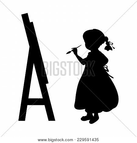 Silhouette Girl Artist Paints On Canvas. Vector Illustration